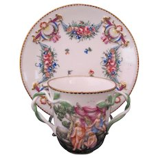 Antique Capodimonte Cup Saucer Crown N Twisted Vine Double Handles Maidens