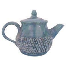 Dryden Original Rare Teapot by Nugyen Loi Aqua Turquoise Lavender Cutout Squares