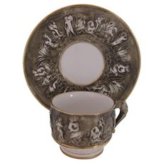R. Capodimonte Cup and Saucer Mid-Century Brown Animal Handles