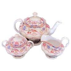 RARE Spode Gobelin Tea Set Teapot Creamer Sugar Bowl Scalloped Yellow Trim