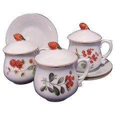 Andrea by Sedak Fruit Pot de Creme Lot Cup Lid Saucer Raspberry Currant #6993