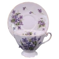Spring Violets Cup Saucer Scalloped Foot Japan Rossetti