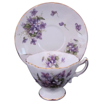Spring Violets Cup Saucer Smooth Foot Occupied Japan Rossetti