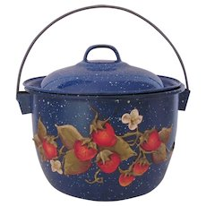 Enamelware Pot Blue Speckled Hand Applied Sprigged Strawberries Artist Signed
