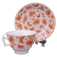 Mottahedeh Cup & Saucer Sacred Bird and Butterfly Historic Charleston Rare