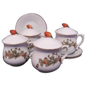 Pot de Creme Lot Strawberry Shafford Cup Lid Saucer Japan