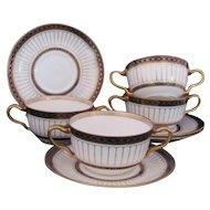 Wedgwood Antique Colonnade Cream Soup Bowls Set of Four Cobalt Gold Star Mark c.1891-1908