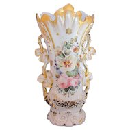 "Very Large Old Paris Porcelain Urn Spill or Fan Vase 16"" Tall"