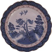 Booths Real Old Blue Willow Luncheon Plate A 8025 Book Mark Vintage c.1944