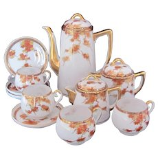 Demitasse Set Pot Creamer Sugar Bowl Four Cups and Saucers Japan