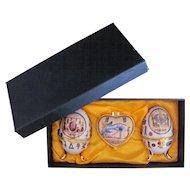 SHENGKUN SHENG KUN Egyptian Porcelain Eggs Trinket Box Original Box Set of Three