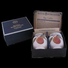 Royal Worcester Evesham Four Egg Coddlers Two Sets Original Box