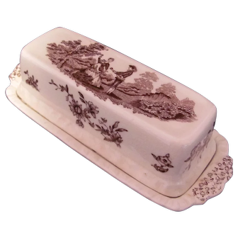 Mason's Butter Dish Watteau Brown 1930's Transfer Ware Masons