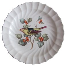 Spode Plate S3306 American Birds Western Tanager 1962-64 Fluted Swirl Edge
