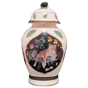 Jaguar Jungle Ginger Jar Vase Urn Lynn Chase c.1988