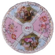 Antique Dresden Style Plate Von Schierholz Austria Watteau Courting Couples