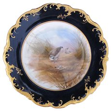 Antique Game Bird Plate c.1862 Brown-Westhead Moore Kenlish Plover Signed