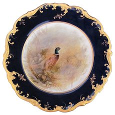 Antique Game Bird Plate c.1862 Brown-Westhead Moore Pheasant Artist Signed