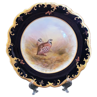 Antique Game Bird Plate c.1862 Brown-Westhead Moore Red Legged Partridge Signed