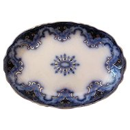 Flow Blue Cambridge Platter Alfred Meakin c.1891 Very Large 16x11 Inches