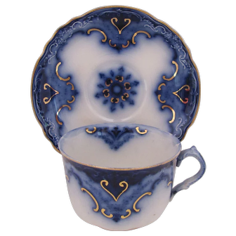 Flow Blue Cambridge Cup and Saucer Alfred Meakin c.1891