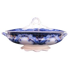 Flow Blue Cambridge Oval Covered Dish Bowl Alfred Meakin c.1891