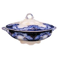Flow Blue Cambridge Round Covered Dish Bowl Alfred Meakin c.1891