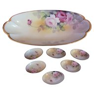 Rare Nippon Celery Dish Tray and Six Matching Individual Salt Cellars