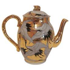Rare Kutani Crane Cranes Antique Demitasse Coffee Pot c.1890's Black Gold Red