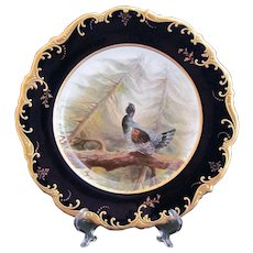 Antique Game Bird Plate c.1862 Brown-Westhead Moore Capercailzie Artist Signed