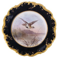Antique Game Bird Plate c.1862 Brown-Westhead Moore Golden Plover Artist Signed