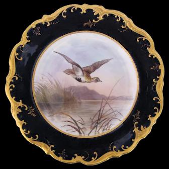 Antique Game Bird Plate c.1862 Brown-Westhead Moore Golden Plover Artist Signed