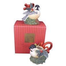 NOS Lenox Winter Greetings Chickadee Creamer Sugar Bowl Original Box c.1998