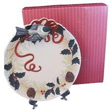 NOS Lenox Winter Greetings Chickadee Candy Dish Plate Original Box c.1998