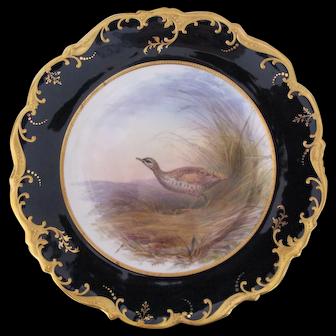 Antique Game Bird Plate c.1862 Brown-Westhead Moore Landrail Bird Artist Signed