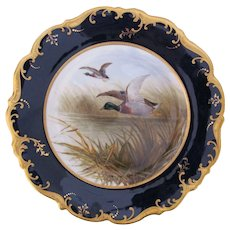 Antique Game Bird Plate c.1862 Brown-Westhead Moore Mallard Duck Artist Signed