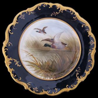 Antique Game Bird Plate c.1862 Brown-Westhead Moore Mallard Duck Artist Signed