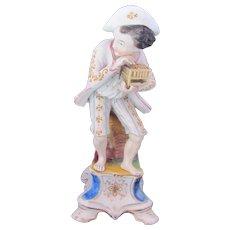 Jacob Petit Man & Cage Incense Burner Candlestick Old Paris Porcelain 1830-1862