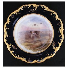 Antique Game Bird Plate c.1862 Brown-Westhead Moore Partridge Artist Signed