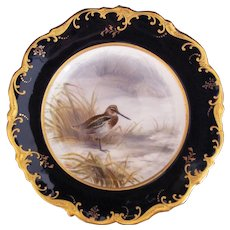 Antique Game Bird Plate c.1862 Brown-Westhead Moore Snipe Artist Signed