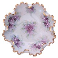 Art Nouveau Footed Violet Bowl Dish Ruffled Crimped Edge Hand Painted