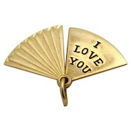 Vintage 10K Gold Movable *I Love You* Hand Fan Charm OPENS!