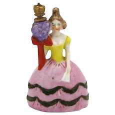 Vintage German Crown Top Perfume Bottle Victorian Style Woman with Flowers