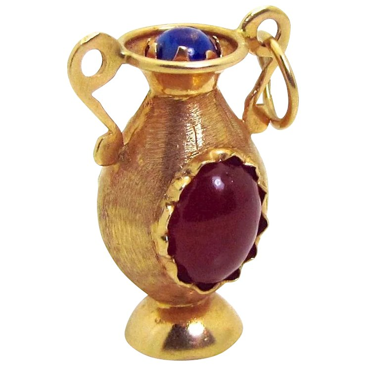 Vintage 18k Gold 3d Jeweled Vase Urn Charm With Lapis Lazuli Sold