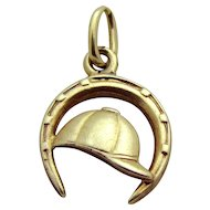 Vintage 14K Gold Jockey Cap in Lucky Horseshoe Equestrian Charm Krementz & Co. 1930s