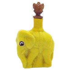 Vintage Yellow Figural Elephant German Crown Top Perfume Bottle