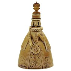 Art Deco Queen Lady with Hand Fan Schafer & Vater German Crown Top Perfume Bottle