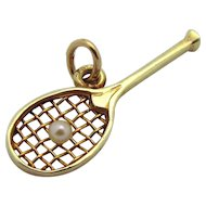 Vintage 14K Gold Sloan & Co. 3D Jeweled Tennis Racket with Ball Charm
