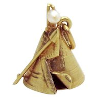 Vintage 14K Gold Sloan & Co. 3D Jeweled Indian Teepee Charm 1930s