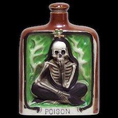 Vintage Skeleton Poison Flask Porcelain Whiskey Nip Bottle Japan 1930s